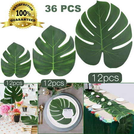 Coolmade 36Pcs Tropical Palm Leaves Plant Imitation Artificial Leaf Hawaiian Luau Party Jungle Beach Theme BBQ Birthday Party Table Decorations (12 Small +12 Middle+ 12 Large) 3 Sizes (Island Themed Decorations)
