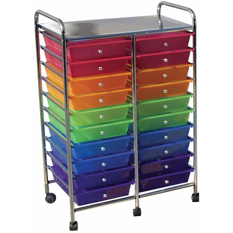 "School Smart Mobile Organizer, 39"" x 21.75"" x 14"", Multi-Color, 20 Drawers"