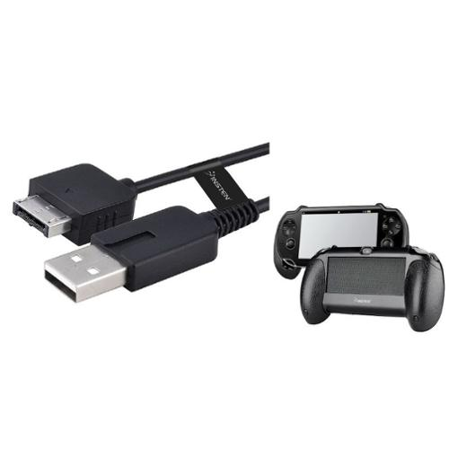 Insten Black Hand Grip Holder + USB Cable For Sony Playstation PS Vita PSV