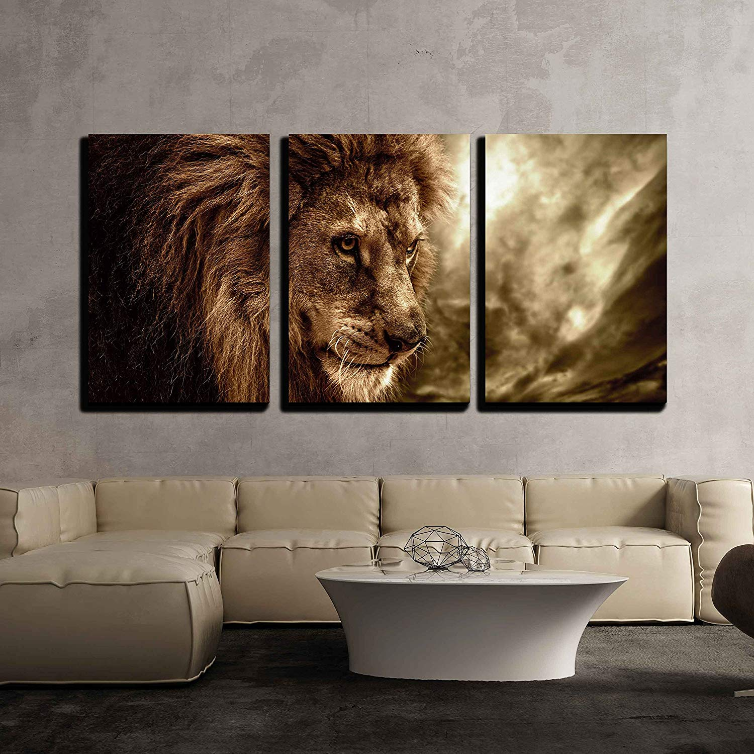 Wall26 3 Piece Canvas Wall Art Lion Against Stormy Sky Modern Home Art Stretched And Framed Ready To Hang Walmart Com Walmart Com