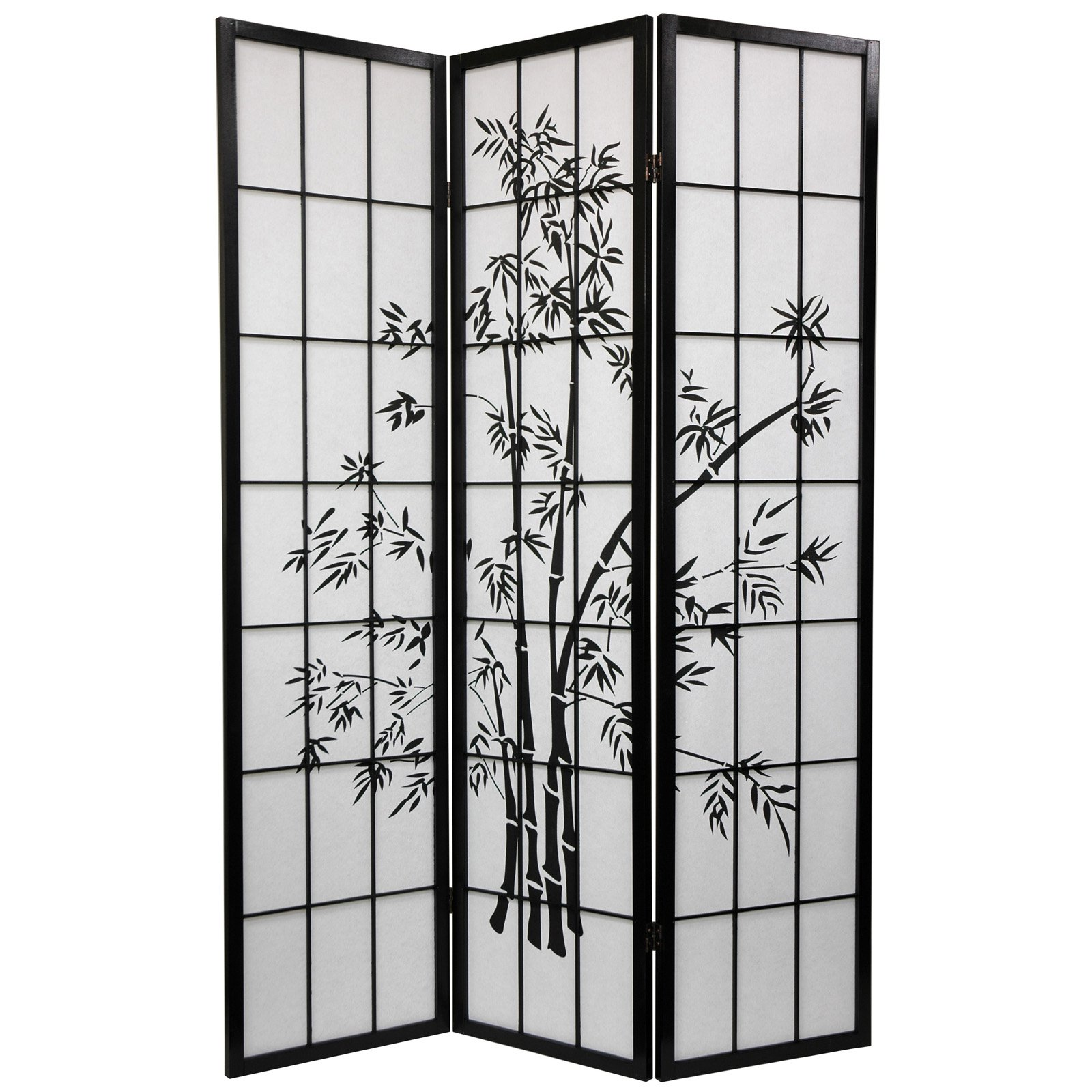 Oriental Furniture Lucky Bamboo Black Room Divider
