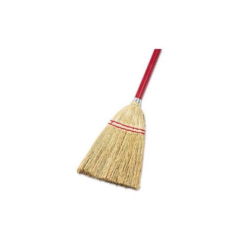 "Lobby/Toy Broom, Corn Fiber Bristles, 39"" Wood Handle, Red/Yellow"
