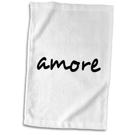 3dRose Amore, word for Love in Italian romantic world language, Italy text  - Towel, 15 by 22-inch
