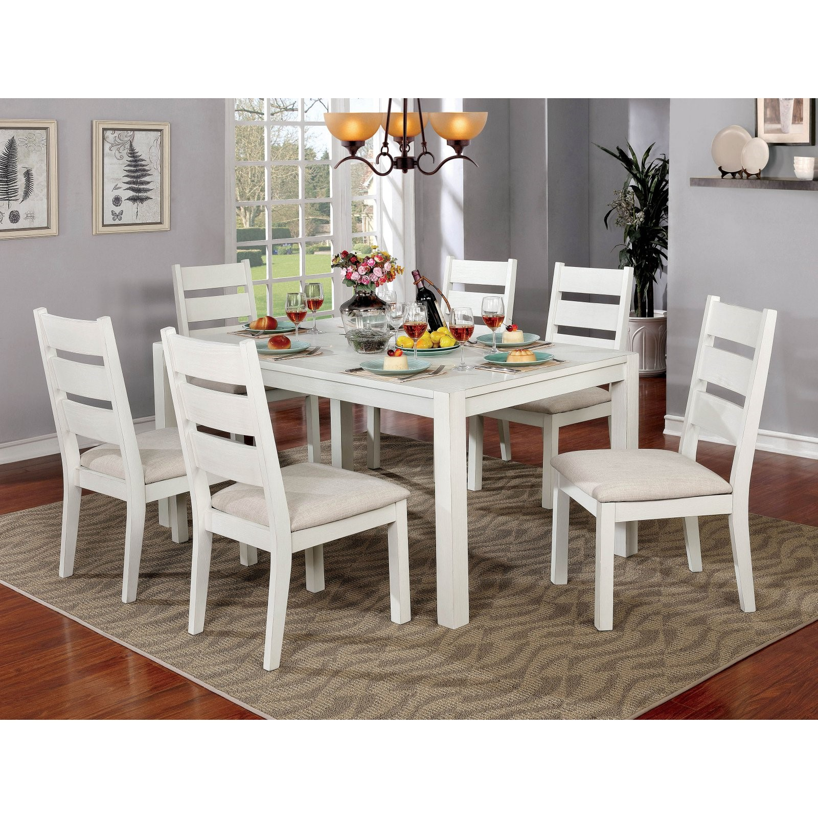 Furniture of America Galveston 7 Piece Rustic Dining Table Set by Enitial Lab
