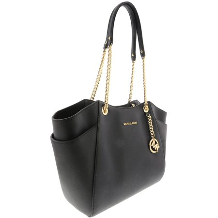 Michael Kors Jet Set Travel Large Chain Shoulder Tote - Black (Michael Kors Handbags In Luggage)