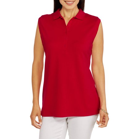 Faded Glory Women's Essential Knit Sleeveless Polo