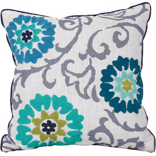 Better Homes and Gardens Decorative Embellished Floral Medallion Pillow, Blue