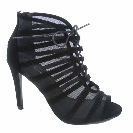 High Heel Evening Shoe Spike (Blake-01 Women's Lace Open Toe Lace Up Zipper Evening High Heel Shoes )