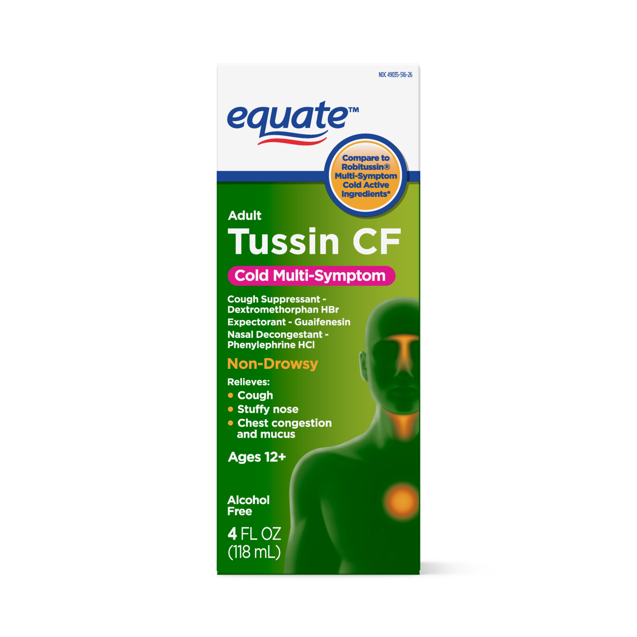 Equate Tussin CF, Cold Multi-Symptom, 4 fluid ounces