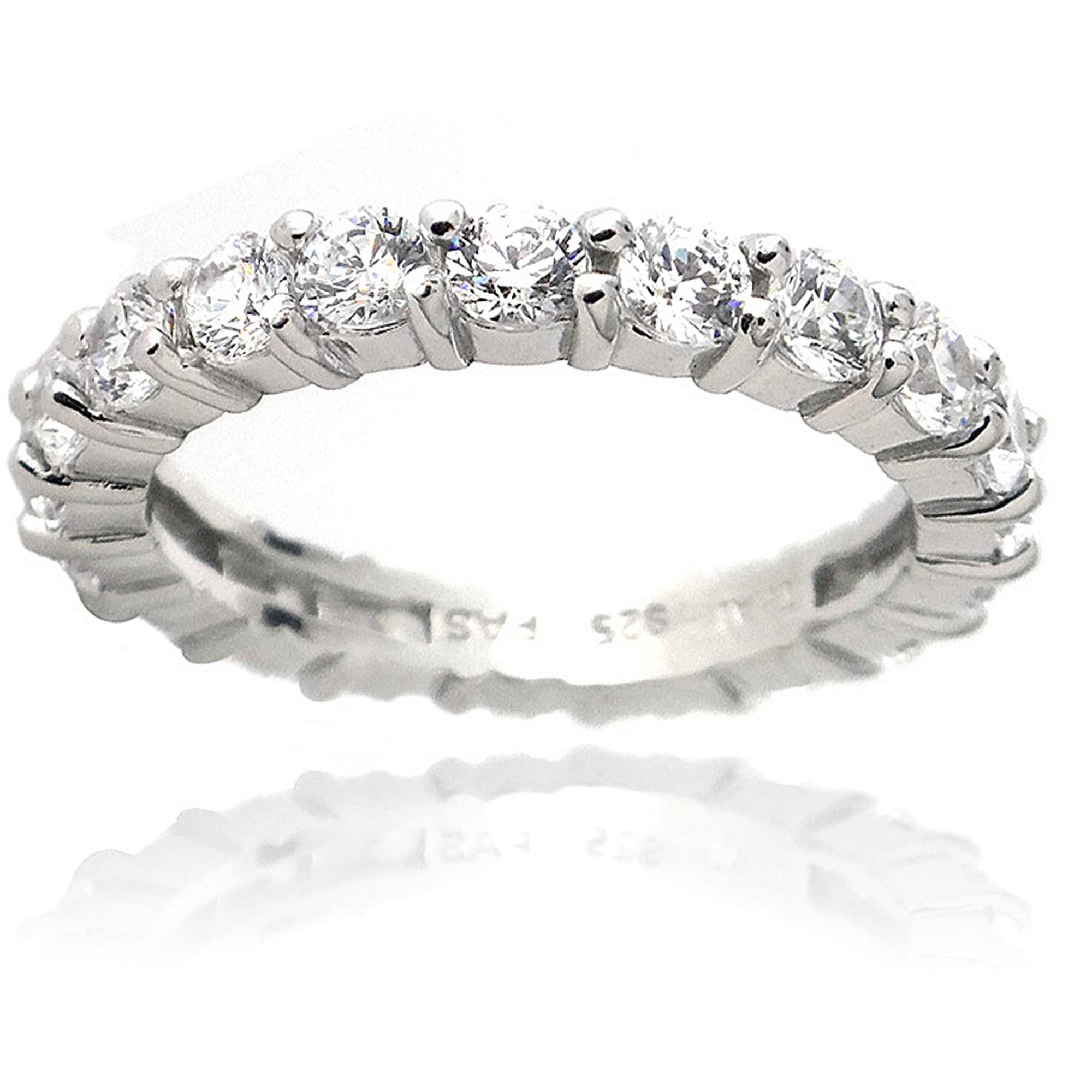 Zirconia Ice Swarovski Zirconia Sterling Silver Eternity Ring Band