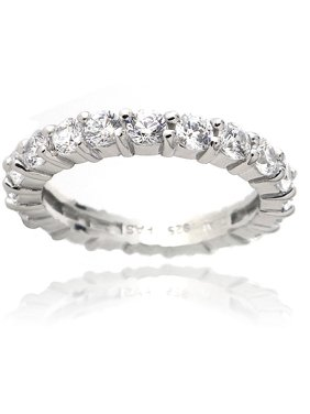 Zirconia Ice Swarovski Zirconia Sterling Silver Eternity Ring Band