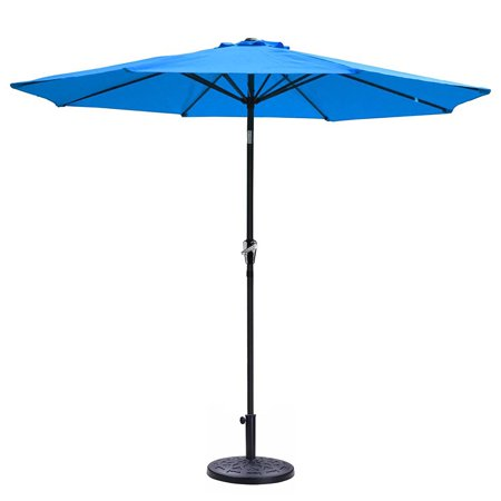 9' Aluminum Patio Market Umbrella 8 ribs w/ Crank Tilt & Base Stand Deck  Cafe Yard Beach Pool