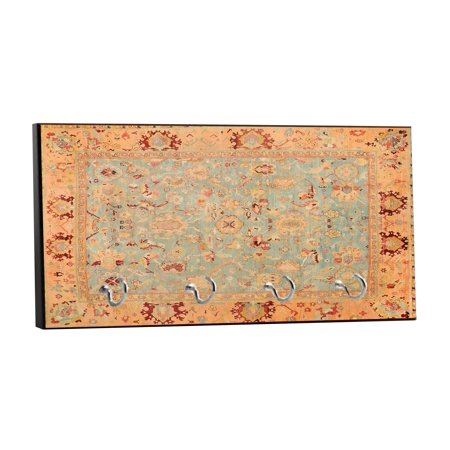 "Antique Persian Rug Print Design - 5"" by 11"" Key Hanger Household Decoration with Four Hooks"
