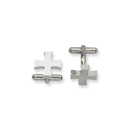 Stainless Steel Polished Cross Cuff Links (16mm x 16mm) ()