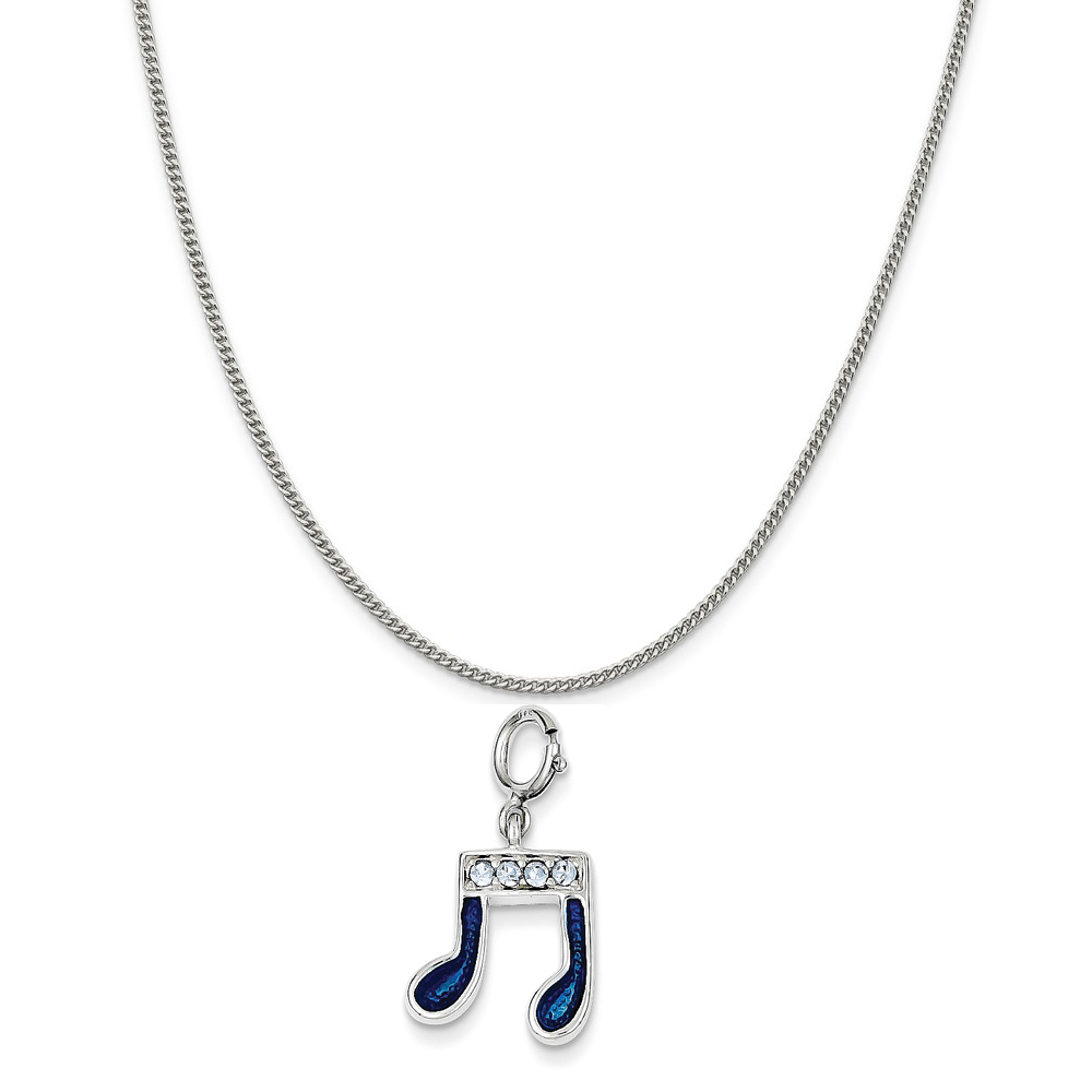 Sterling Silver Preciosa Crystal and Blue Enamel Music Note Charm on a Curb Chain Necklace, 20""