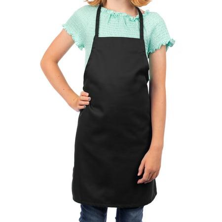 Black Kids Apron, Medium Bib Childrens Craft Apron