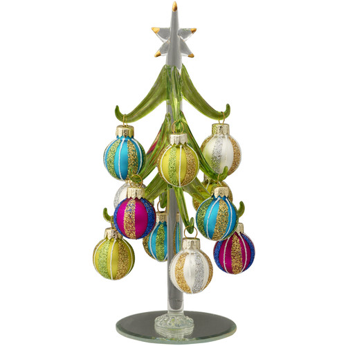 LS Arts, Inc. Glass Christmas Tree with Ornaments