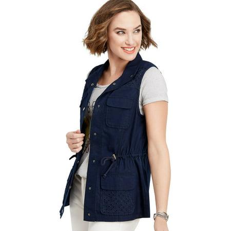 - Blue Lace Yoke Vest