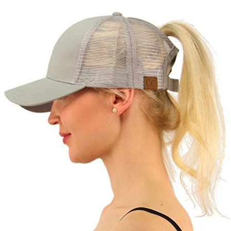 1eda136af C.C Ponytail Messy Buns Trucker Ponycaps Plain Baseball Visor Cap Dad Hat  Gray