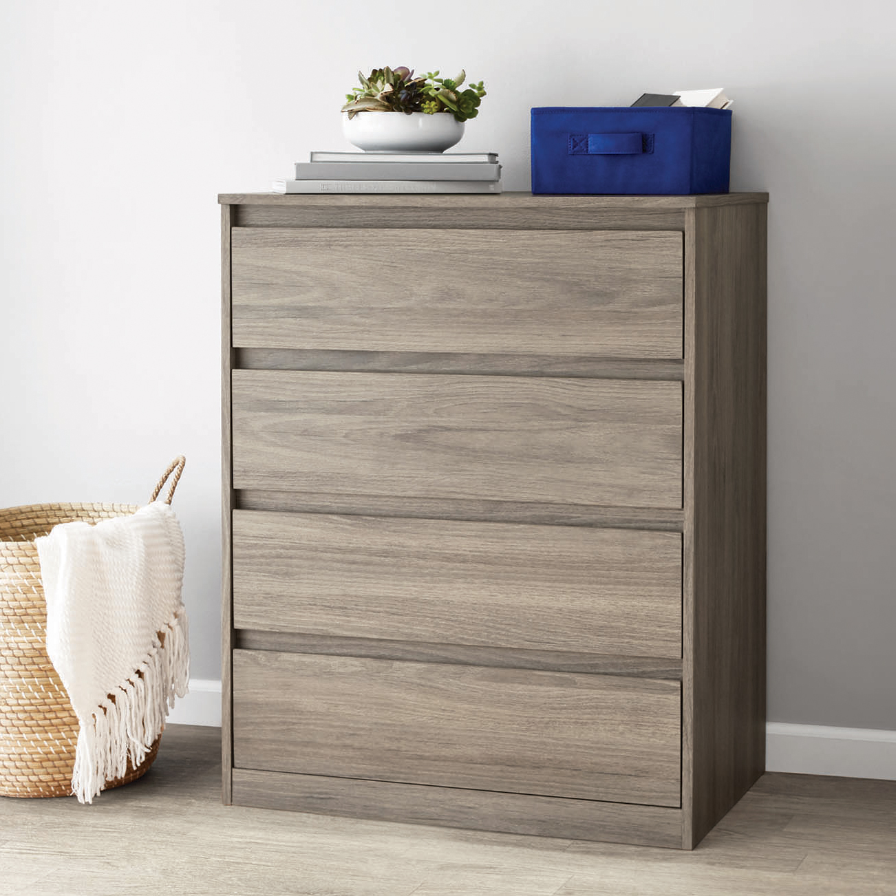 Mainstays Westlake 4 Drawer Dresser, Rustic Oak