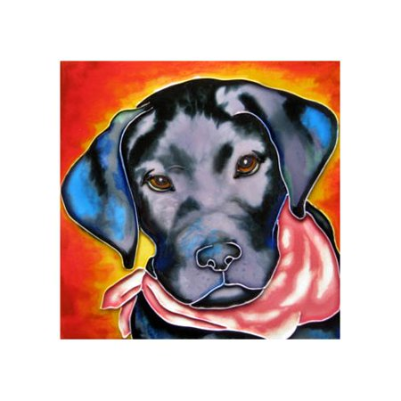 Continental Art Center Black Dog Tile Wall Decor
