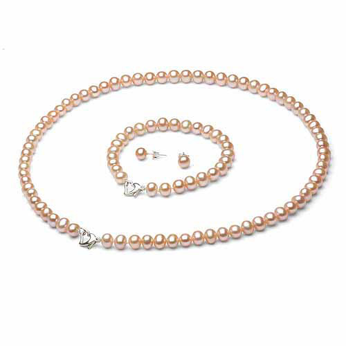 """6-7mm Pink Freshwater Pearl Heart-Shape Sterling Silver Necklace (18""""), Bracelet (7"""") Set with Bonus Pearl... by Jacqueline's Collection"""