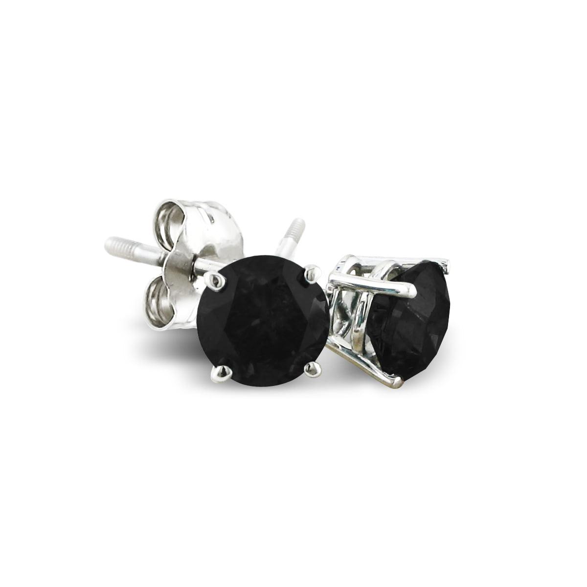 3/4ct Black Diamond Stud Earrings in 10k White Gold