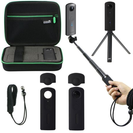 Shockproof Protective Carrying Case  Selfie Stick Monopod  Mini Tripod Stand  Soft Silicone Skin  Wrist Strap For Theta V 360 Camera  Eeekit All In One Accessory Kit