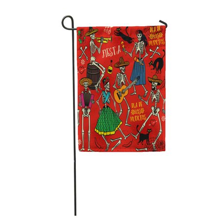 SIDONKU Red Day Skeletons Dia De Los Muertos The Dance Dead Garden Flag Decorative Flag House Banner 12x18 inch](Dia De Los Muertos Flags)