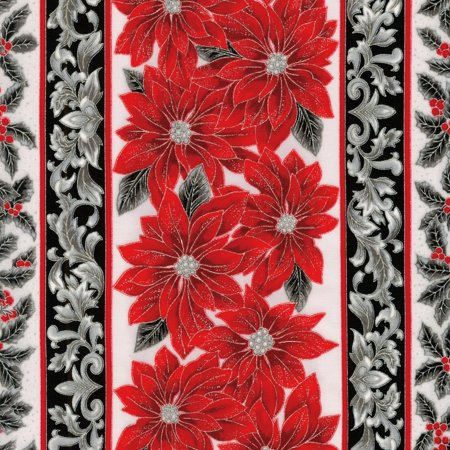 Holiday Flourish 12 Christmas~Poinsettias Stripe Silver with Metallic Cotton Fabric by -