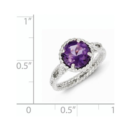 Sterling Silver Rhodium-plated Amethyst Twisted Circle Ring - image 1 de 2
