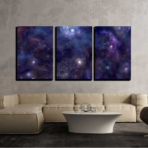"wall26 - 3 Piece Canvas Wall Art - Deep Space Wide Background Website Header - Modern Home Decor Stretched and Framed Ready to Hang - 24""x36""x3 Panels"