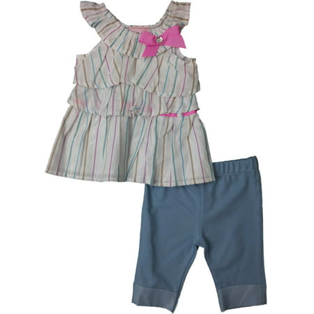 Infant Toddler Girls White Striped Peasant Tank Top 2-PC Skimmer Outfit