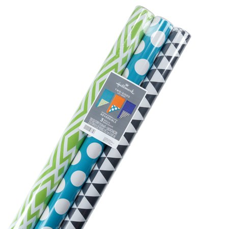 Gift Wrap Ensemble - Hallmark Reversible Wrapping Paper, Brights, Prints and Solids (Pack of 3, 120 sq. ft. ttl.)