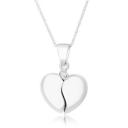 Puffed Heart with Hidden I Love You Disc Locket Necklace