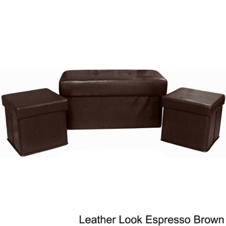 Sensational Vanderbilt Foldable 3 Piece Storage Ottoman Set Leather Look Gmtry Best Dining Table And Chair Ideas Images Gmtryco