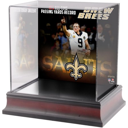 Drew Brees New Orleans Saints NFL Passing Yards Record Deluxe Mini Helmet Case Autographed Saints Mini Helmet