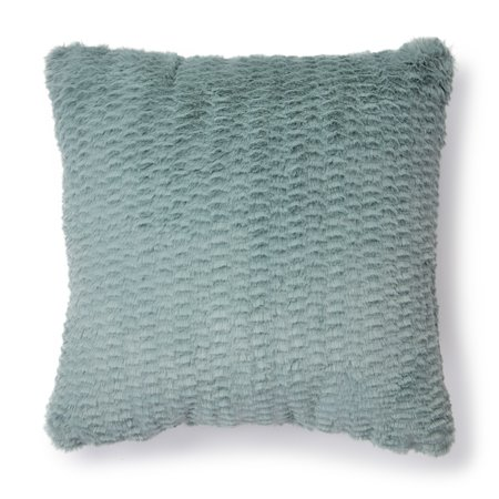 "Mainstays Dean Fur Decorative Throw Pillow, 18"" x 18"", Teal"