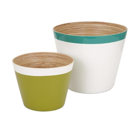 """Set of 2 Color Block Teal Blue Green and White Bamboo Cachepot Flower Planters 12"""""""