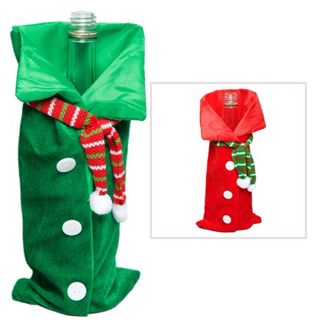 Bottle Top Bags - Velour Holiday Shirt Bottle Gift Bags
