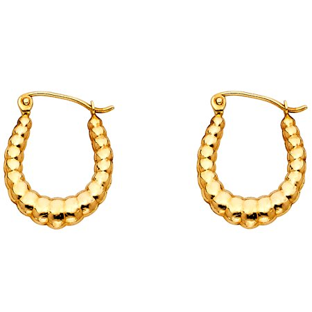 Polished Yellow Gold Hoop - 14k Yellow Gold Oval Shrimp Hoop Earrings Hollow French Lock Polished Fancy Genuine Solid 18 x 15 mm