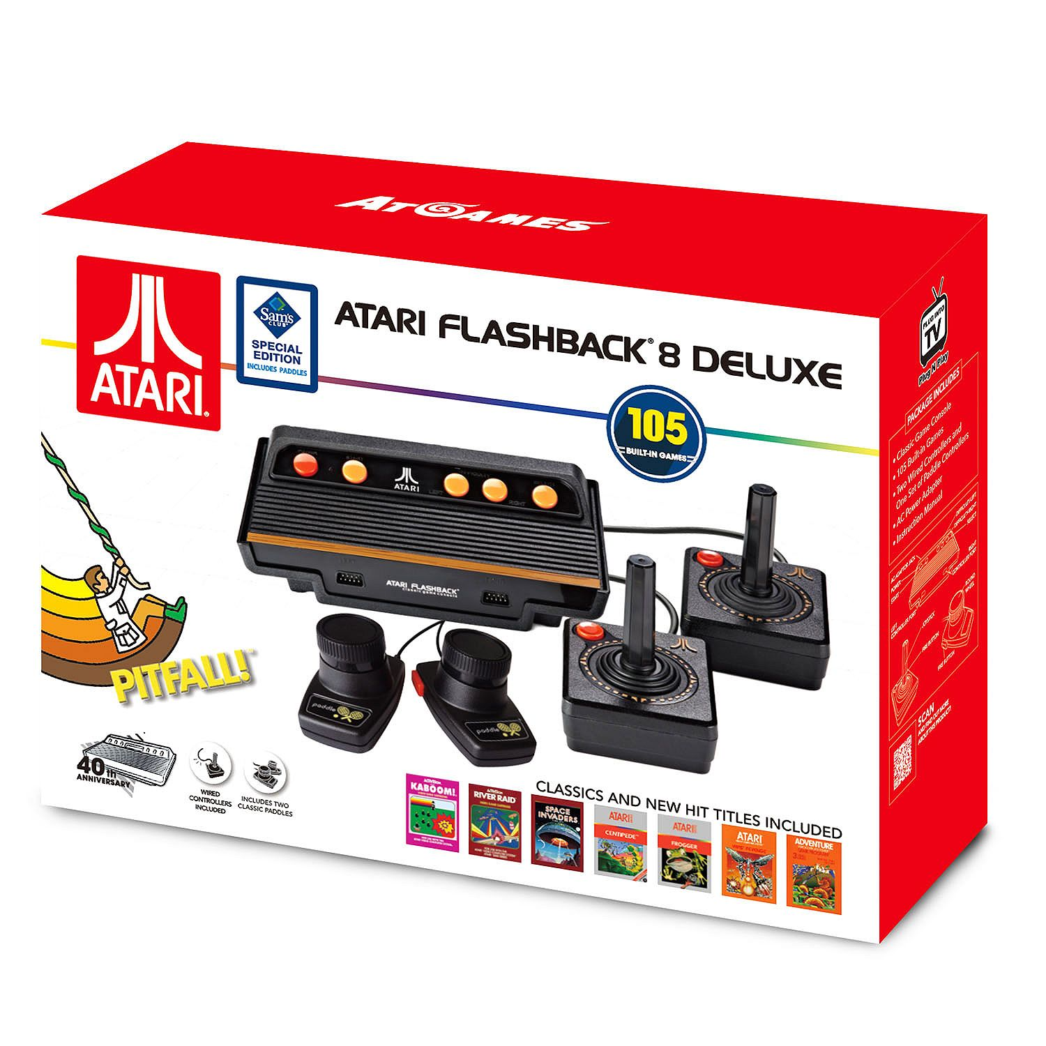 Atari Flashback 8 Deluxe with 105 games - 2 Wired controllers and 2 Wired  Paddles - Walmart.com