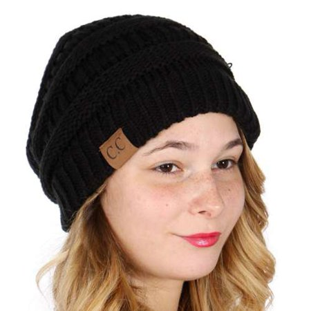 C.C Women Black Logo Detail Knit Ribbed Cuff Fall Winter Beanie Hat ()