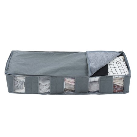 Underbed Storage Bags Organizer Container with Strengthened Handles and Enhanced Zipper, Space Saver Foldable Storage Bags Breathable with Clear Window for Blankets Clothes