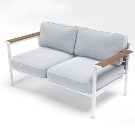 Zinus Outdoor Steel and Wood Framed Loveseat with Cushions