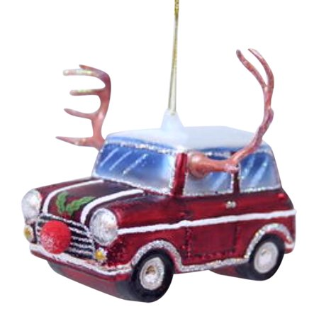 December Diamonds Car with Reindeer Antlers and Red Nose Glass Holiday Ornament