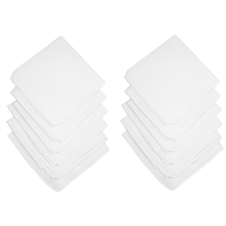 Axxents Cotton White Handkerchiefs (Pack of 12)White