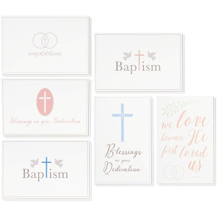 36 Pack Christian Religious Greeting Cards Bulk Box Set for Blessings on Your Dedication, Wedding Congratulations, Baptism, Christening for Baby Boys and Girls, 6 Assorted Designs 4 x 6 (Best Indian Wedding Card Designs)