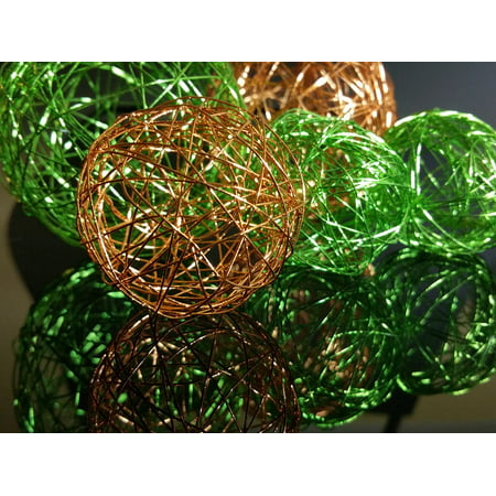 LAMINATED POSTER Ball Background Wire Orange Green Decoration Poster Print 24 x 36