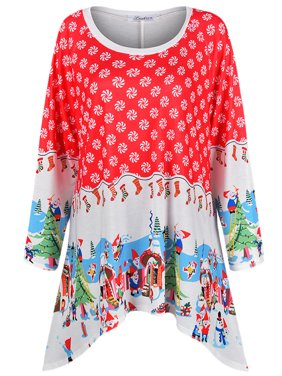 JTOPPER Maternity Colorful Christmas Pattern Long Sleeve Loose Shirt Tops